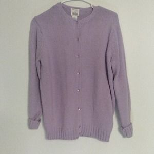 Leon Levin Hand Loomed Lilac Cardigan Sweater